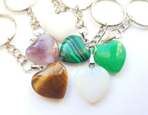 Natural stone Love Heart Keychain Ring Quartz Reiki Crystal Healing Point For Keys Car Bag Key Ring Handbag Key Chains Gifts Crafts