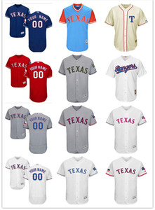 Wholesale custom Men's women youth Majestic Texas Jersey #00 Any Your name and your number Home Red Blue Kids Girls Throwback Baseball Jerseys