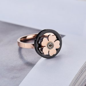 Wholesale Rotating Flower Ring Women Gold Titanium Band Rings Rotation Personality Blossom Jewelry Rings Female Fashion Accessories Jewellery Designer