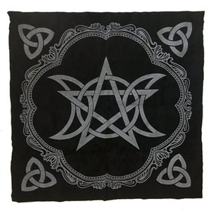 Triple Moon Pentagram Altar Cloth 49x49cm Tarot Tablecloth Pagan Altar Tarot Cloth board game Flannel Educational Toys