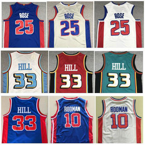Wholesale Men 2019 New Sports Wear 25# Derrick Rose Jerseys Blue Grey White Embroidery Vintage #33 Grant Hill Jersey #10 Dennis Rodman Jersey Stitched
