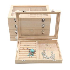 Wholesale Medium Linen Carrying Case with Glass Cover Jewelry Ring Display Box Tray Holder Storage Box Organizer Earrings Ring Bracelet Bo