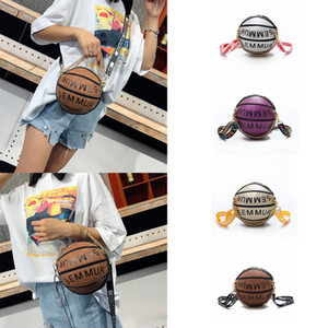 4styles Basketball Shape letter Shoulder Bags Women Bags Designer Round Purse Women Fashion Chain Crossbody Bags phone storage pouch FFA2094