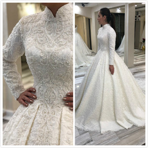2019 Arabic Muslim Lace Beaded Wedding Dresses High Neck Long Sleeves Bridal Dresses Vintage Sexy Wedding Gowns ZJ521