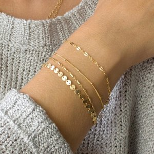 Wholesale 2019 New Bohemia Multilayer Gold Silver Color Coin Tube Lace Satellite Chain Bracelets For Women Foot Chain Anklets
