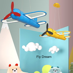 Wholesale children light fixtures resale online - Cartoon Airplane Modern led Pendant Lights for children room boy kids room deco hanging Pendant Lamp fixtures