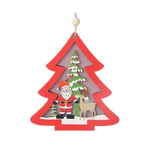 Wholesale LED Light Up Wooden Decorative Hanging Ornaments Indoor Christmas Tree Party Bedroom Holiday Decorations