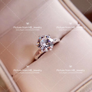 Wholesale Have stamp six claw karat diamond sterling silver designer ring women marry wedding engagement rings sets Lovers gift luxury jewelry
