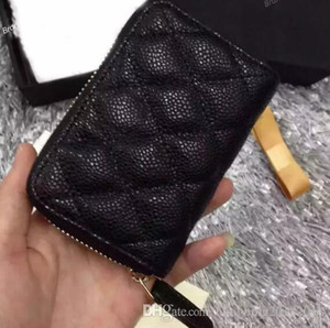 69271 Women Genuine Black Lambskin Caviar Leather Coin Purse Small Purse With Zipper Card & ID Holders on Sale