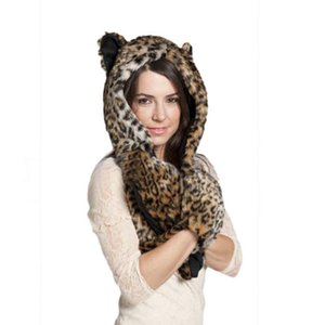 Wholesale Winter Warm Women Scarves Cap Animal Wolf Tiger Hood Scarf Hat Glove Set Ladies Girls Caps