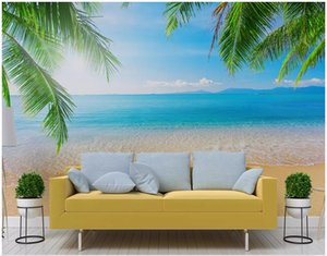Wholesale beach wallpaper for walls for sale - Group buy custom photo d wall paper Seaside beach coconut tree landscape background living room home decor d wall murals wallpaper for walls d