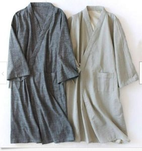 Wholesale Men s Yukata Pajamas Cotton Japanese Bathrobe Robe Nightwear Home Male Sleep Lounge