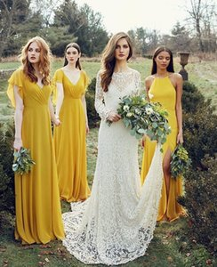 Wholesale Simple Lemon Bridesmaid Dresses V neck Long Chiffon Bridesmaid Gowns With Ruffles Sleeves Backless Sheath Chiffon Maid Of Honor Cheap Dress