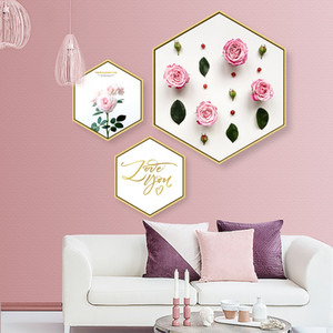 Wholesale Small fresh mural this is Love Hexagon decorative painting living room mural Creativity Art paintings frame Hanging picture