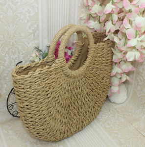 Wholesale Woven round new Moon Shaped Straw Totes Beach Travel Party Bag Large Bucket Summer Bags LADIES Designer Handbags Size CM CM CM Fashion