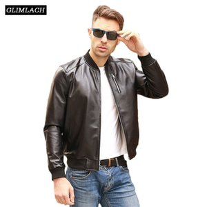Autumn Black Aviation Genuine Leather Bomber Jacket Men Sheepskin Real Leather Flight Jacket Slim Pilot Coats Veste Cuir Homme