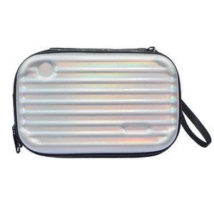 Wholesale Women Cosmetic Bag Case Colorful Laser Leather Messenger Handbag Purse Card Clutch Mini Suitcase Waterproof Make Up Bag Female