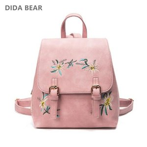 DIDA BEAR Brand Women Leather Backpacks Female School bags for Girls Rucksack Small Floral Embroidery Flowers Bagpack Mochila