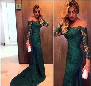 Real Picture 2019 Emerald Green Mermaid Lace Evening Dresses Custom Made Long Sleeve Women Prom Gowns Formal Gowns Cheap on Sale