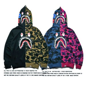 Wholesale Mens Designer Hoodie Shark Splice Camouflage Print Sweater Unisex Long Sleeve Matching Hoodie Jacket Spring Autumn Zipper Coats S XXL C72705
