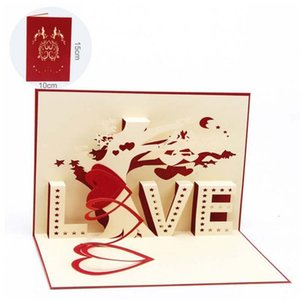 Wholesale 3D Pop Up Greeting Card Valentines Day Gift With Envelope Laser Cut Postcard Love Tree Heart Post Card