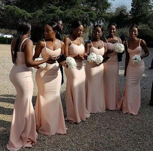 Wholesale African Mermaid Bridesmaid Dresses Sleeveless Court Train Chiffon Long Bridesmaids Dress Custom Made Simple Wedding Party Gown