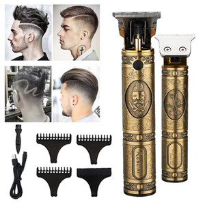 Gold electric USB rechargeable men hair trimmer retro oil head clipper T9 professional beard cutter
