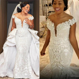 Wholesale white boho short wedding dress for sale - Group buy Spark Mermaid Wedding Dresses With Detachable Train African Lace Country Garden Boho Bridal Gowns Off The Shoulder Hochzeitskleider