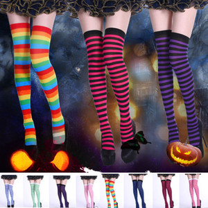 Wholesale Women s Striped Tights Halloween Costume Dress Up Long Knee Stocking Leggings Home Party Xmas Supplies DHL Ship HH9