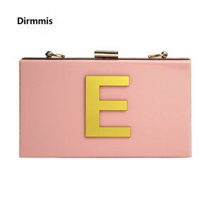 Wholesale New Wallet Letters Brand Fashion Evening Bag Woman Cute Acrylic Pink Evening Bag Luxury Noble Shoulder Bag Elegant Chain Clutch