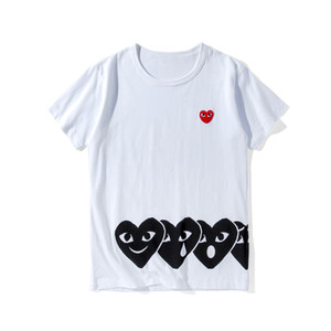Wholesale Red Heart Printed Mens Tshirt Designer Tees Black Heart Embroidery T shirt Men Women Luxury Shirt