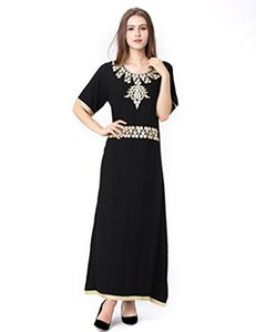 Wholesale Baya Muslim Kaftan Dubai Half Sleeve Dress with Embroidery for Women Islamic Clothing Rayon Gown Jalabiyas
