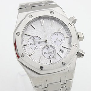 Wholesale Royal Oak White Dial Quartz Chronograph MM Mens Watches Men Watch Wristwatches Stainless Steel Bracelet Octagonal Case Six Hands