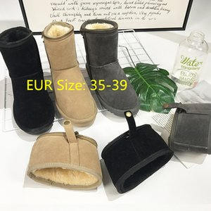 Wholesale Cross border winter snow boots Europea United States all match beige two fold zipper thick soled tall barrel skid proof warm cotton shoes