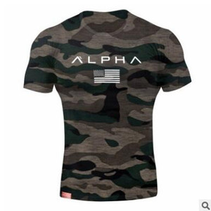 Wholesale New Casual Clothing Gyms Tight Cotton T shirt Mens Fitness T shirt Homme Letters T Shirt Men Fitness Crossfit Summer Tees Tops