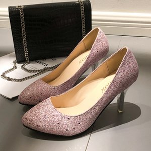 Wholesale Designer Dress Shoes Plus Size Woman Wedding High Heels Bling Women Bridal Glitter Pumps OL Office Lady zapatos mujer H11