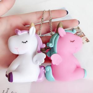 Unicorn key holder horse key chains s horse key Ring sound cartoon design gift cartoon unicorn keyings Pony Bag hang decoration LJJV230 on Sale