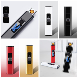 Nice Colorful USB Cyclic Charging Lighter Windproof Portable Mini Display Light Innovative Design For Cigarette Bong Smoking Pipe