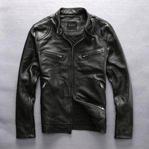Wholesale Hot Sale Cow Leather Clothing Mens Over Size Genuine Cowhide Leather Simple Design Slim Jacket Outerwear