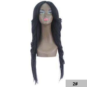 Wholesale Cheap Ombre Wigs Blonde Body Wave Hair Wigs Blue High Quality Heat Resistant Synthetic Straight Lace Wigs for Black Women