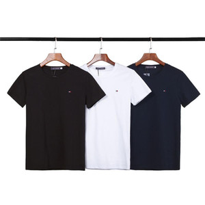 Wholesale Summer new style fashion simple plain cotton short sleeve T shirt men s round collar bottom shirt half sleeve T shirt loose sports casu