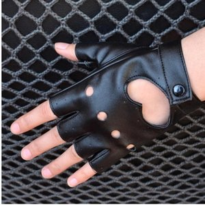 Top Sell Women's Semi-finger Hip-hop Style Gloves Lady's Artificial Leather Heart Cutout Sexy Fingerless Gloves Girls Dancing