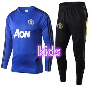 Wholesale 19 manchester kids training suit Lukaku RASHFORD football jacket sportswear blue foot jogging POGBA kids United Soccer Tracksuit
