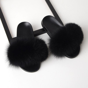 Hot sale Luxury children 100% Fox Fur Slippers Fluffy Real Hair Designer Flip Flops Ladies Cute Sandal Fashion Furry kids Slippers on Sale