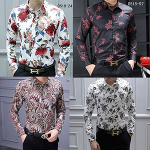 HOT Brand Men's Casual Shirts Fashion Harajuku Dress Suit Shirt Men Luxury Slim shirt Medusa Black Gold Fancy 3D Print Slim Fit Shirts on Sale