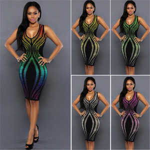 Wholesale Sexy Women Summer Bandage Dress New Style Rainbow Color Bodycon Evening Party Short Mini Dresses Hot Selling Package Hip Dress