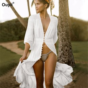 Wholesale 2019 New Cover Up Stitching Bud Ribbon Button Beach Sunscreen Long Cardigan Vacation Bikini Blouse Seaside Sunscreen Cover Up