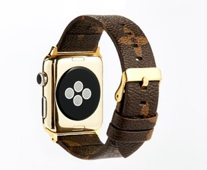 Wholesale Designer Grid Bands Leather Strap for Apple Watch Bands iwatch S1 S2 S3 S4 mm mm Smart watch Belt Buckle Luxury Printed GSZ504