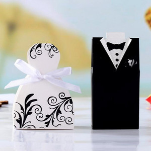 Wholesale gifts boxes resale online - Hot Sale Wedding Candy Box Bride Groom Cheap Good Quality Wedding Bridal Favor best Gift Boxes pairs Gown Tuxedo