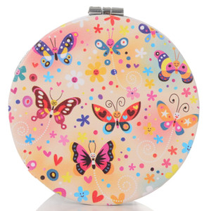 Wholesale Lovely Makeup Mirror Compact Cosmetic Makeup Round Pocket Purse Double Sides Mirror with Butterfly Picture